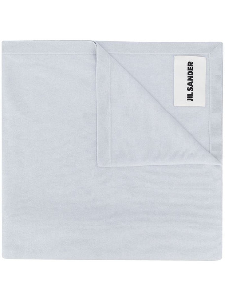 Jil Sander cashmere logo patch scarf in blue