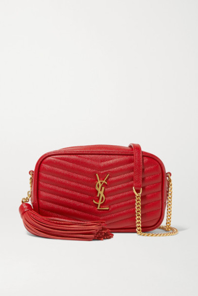 SAINT LAURENT - Lou Mini Quilted Textured-leather Shoulder Bag in red