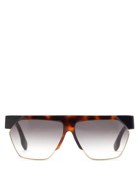 Victoria Beckham - Flat Top Acetate And Metal Sunglasses - Womens - Black Brown