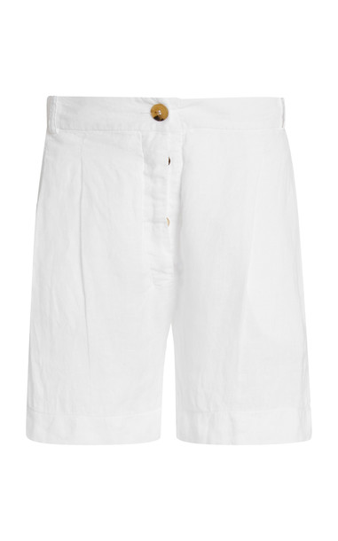 Asceno The Madrid Pleated Linen Shorts in white