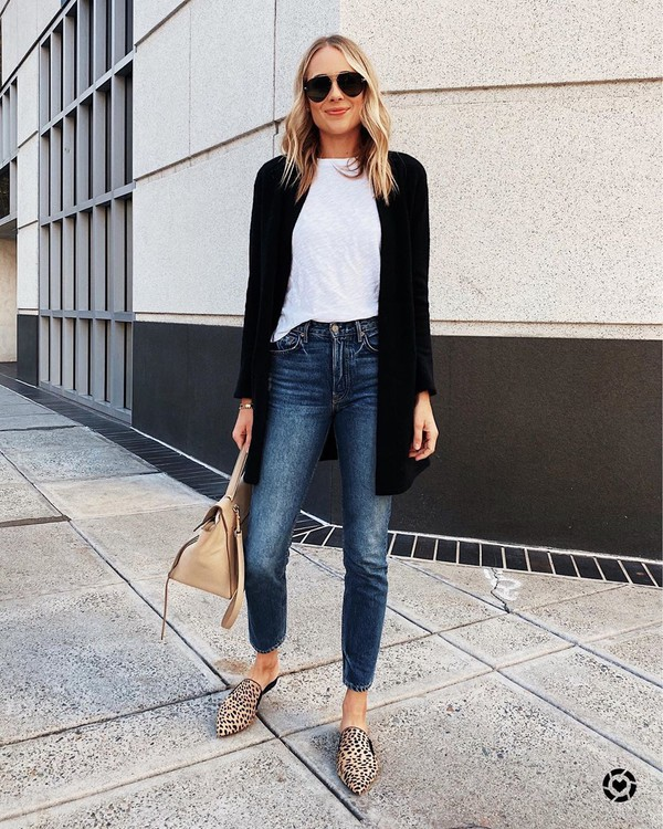 jeans high waisted jeans mules black cardigan bag white t-shirt