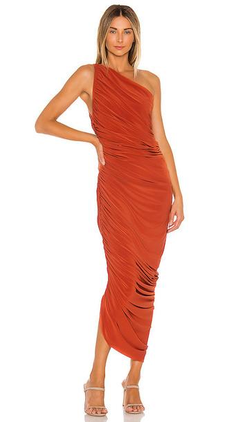 Norma Kamali Diana Gown in Burnt Orange