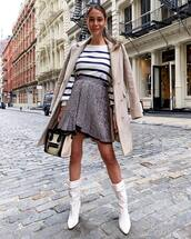 shoes,white boots,knee high boots,isabel marant,suede boots,sequin skirt,trench coat,striped top,handbag