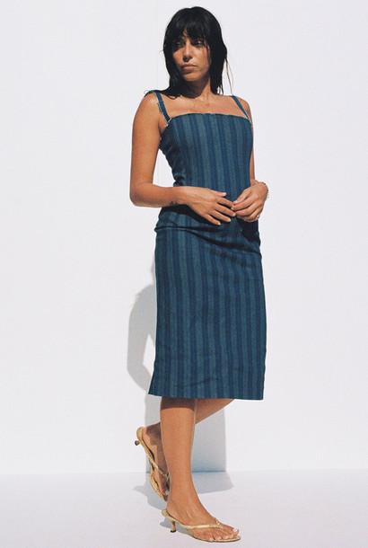 Miaou UPCYCLED DEGAS DRESS - BLUE STRIPED DENIM