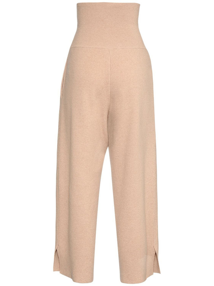 STELLA MCCARTNEY High Waist Wool Knit Wide Leg Pants in camel