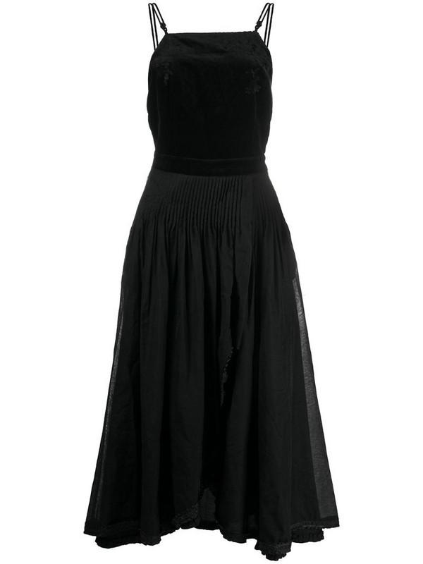 Renli Su velvet panel midi dress in black