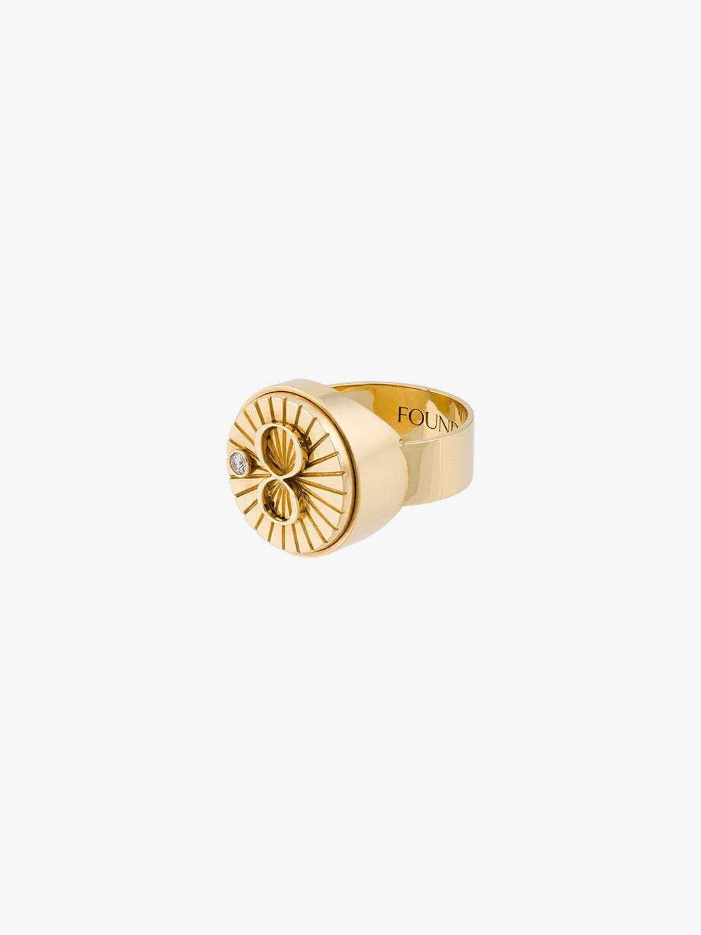Foundrae 'karma' signet ring in metallic