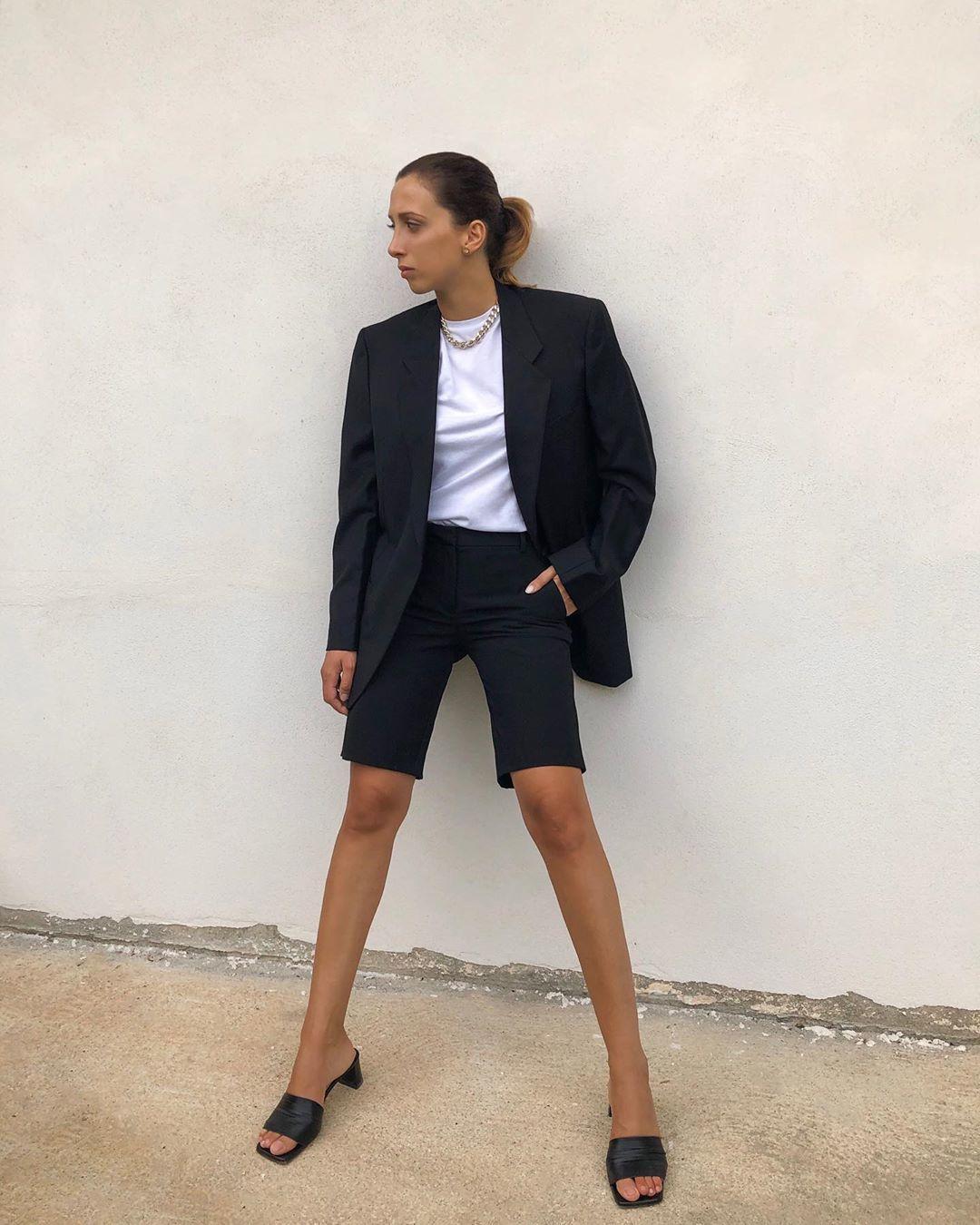 shorts black shorts black blazer black sandals white t-shirt
