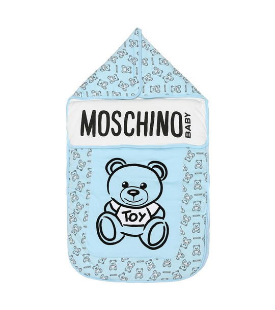 Moschino Kids Baby cotton bunting bag in blue