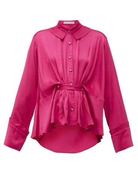 Palmer/harding Palmer//harding - Rise Belted Satin Shirt - Womens - Pink