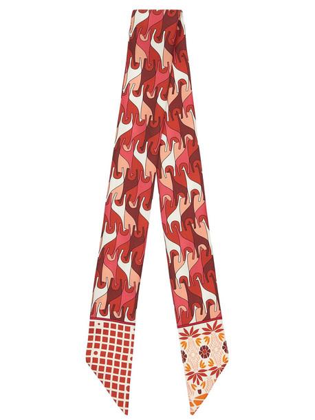 LORO PIANA Printed Silk Scarf in red