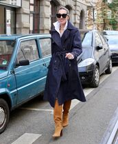 coat,trench coat,denim,suede boots,brown boots,white shirt