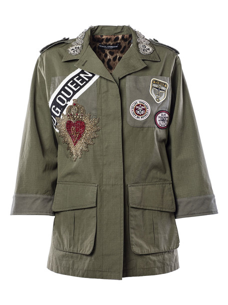 Dolce & Gabbana Badge Patched Military Jacket in grey