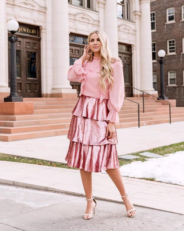skirt midi skirt ruffle sandal heels blouse