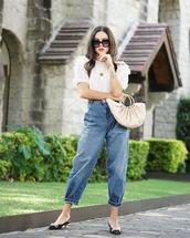 bag,handbag,slingbacks,high waisted jeans,white blouse