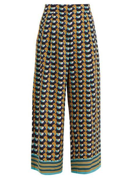 Etro - Shambala Circle Print Silk Culottes - Womens - Yellow Multi