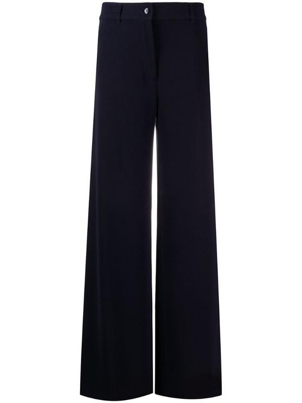 Brag-wette plain flared trousers in blue