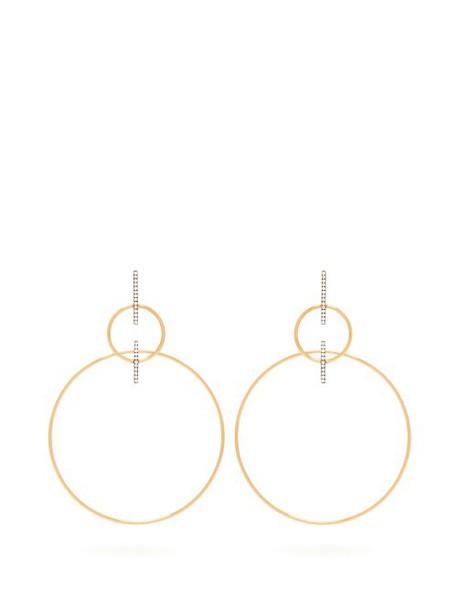 Diane Kordas - 18kt Gold & Diamond Double Hoop Drop Earrings - Womens - Gold
