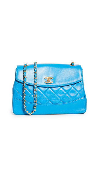 What Goes Around Comes Around Chanel Blue Lambskin Shoulder Bag