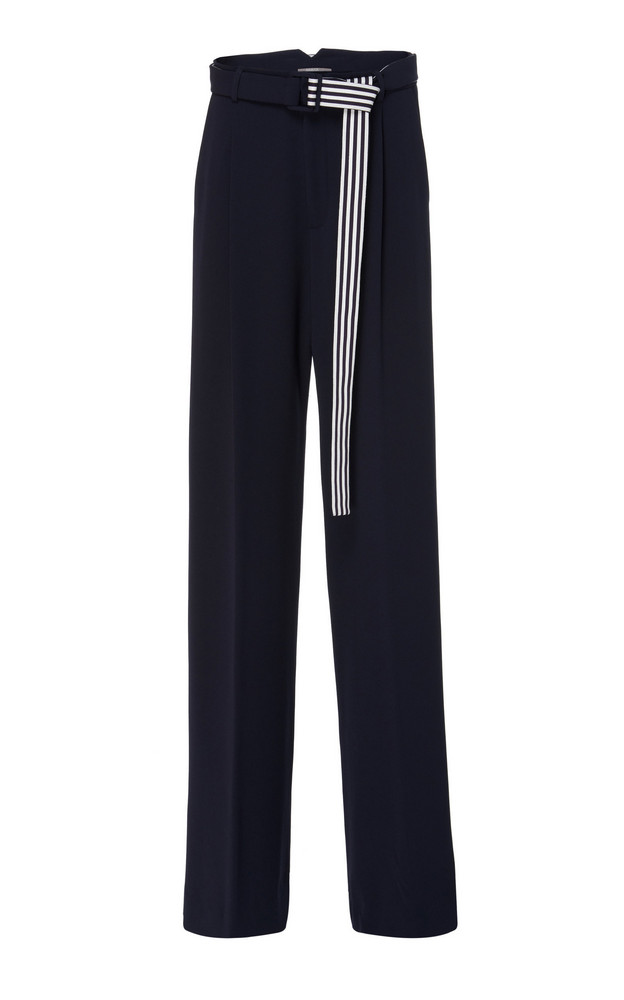 Lela Rose Belted Wide-Leg Cady Trousers in navy