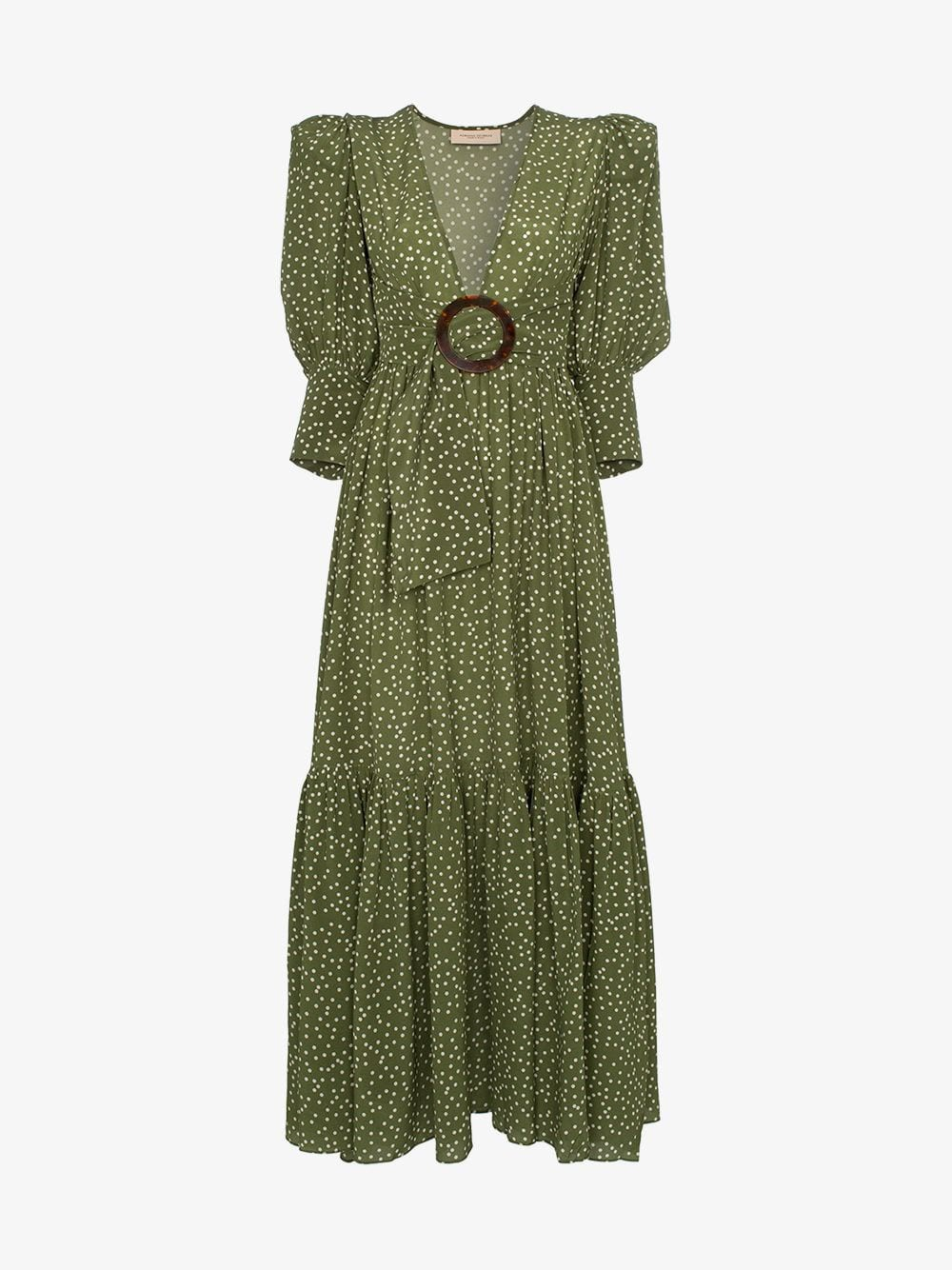 Adriana Degreas Mille Punti deep V-neck silk dress in green