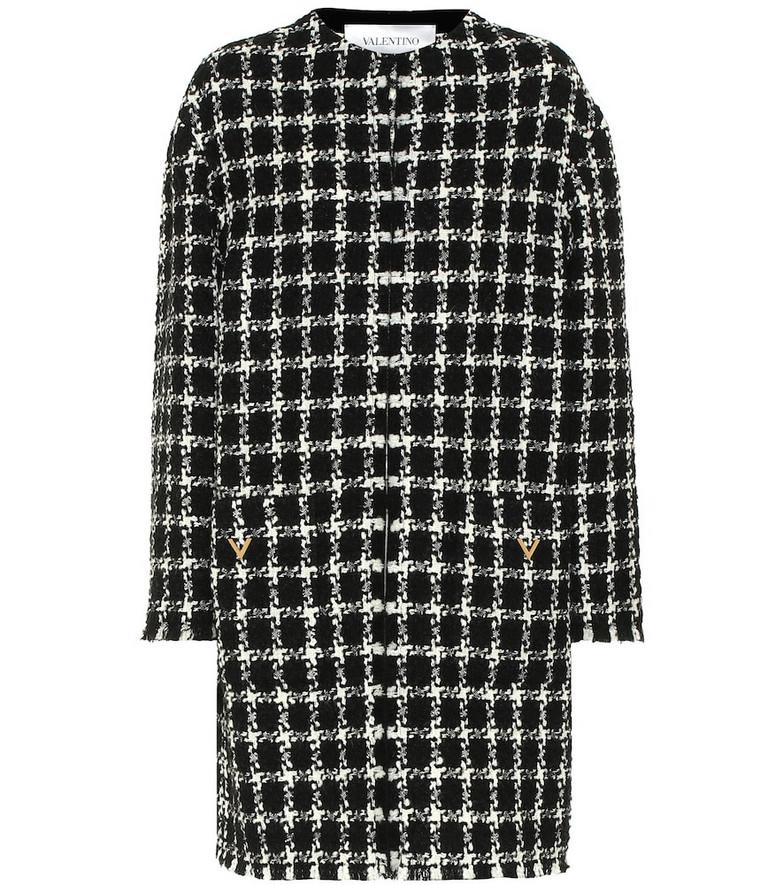 Valentino Tweed virgin wool-blend coat in black