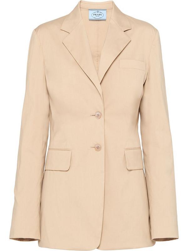 Prada single-breasted tailored blazer in neutrals