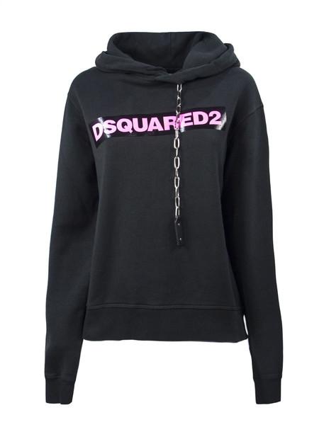 Dsquared2 Black Cotton Hoodie Sweatshirt