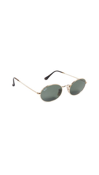 Ray-Ban Small Oval Sunglasses in gold / green