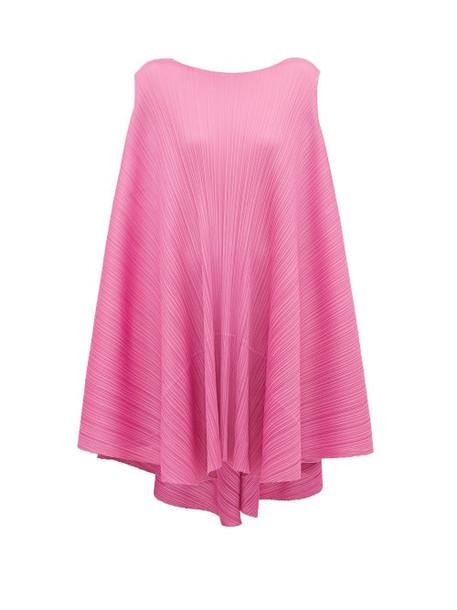 Pleats Please Issey Miyake - Petal Tie Back Pleated Dress - Womens - Pink
