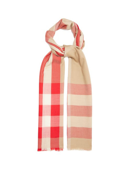 Burberry - Giant Check Cashmere Scarf - Womens - Beige Multi