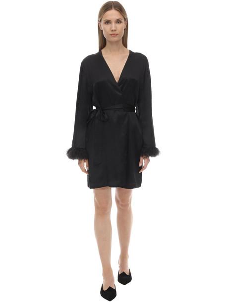 LUNA DI SETA Embellished Silk Kimono in black