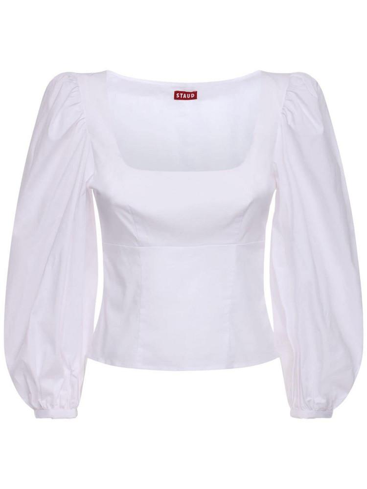 STAUD Cotton Blend Poplin Shirt in white