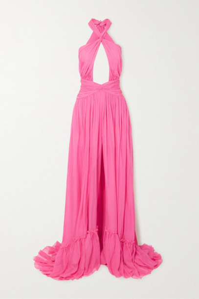 Dundas - Ruched Cutout Silk-chiffon Halterneck Gown - Pink