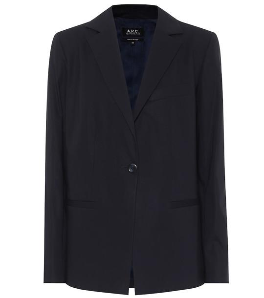A.P.C. Savannah cotton-crêpe blazer in blue