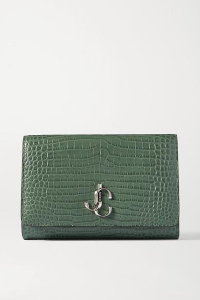 Jimmy Choo - Varenne Croc-effect Leather Clutch - Green
