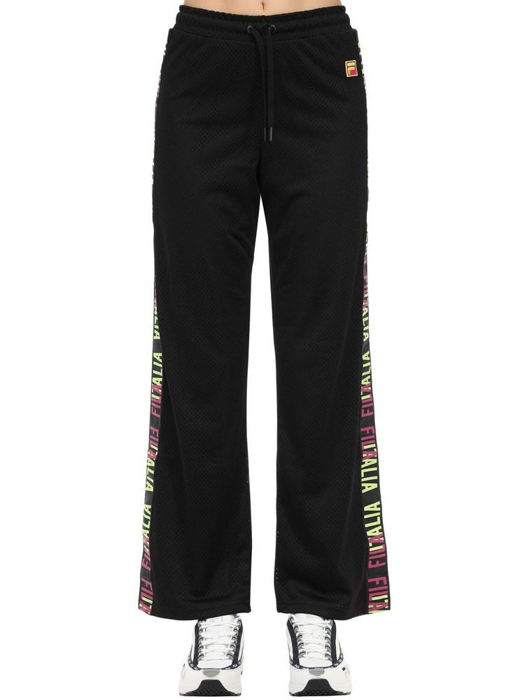 FILA URBAN Adora Wide Leg Techno Mesh Pants in black