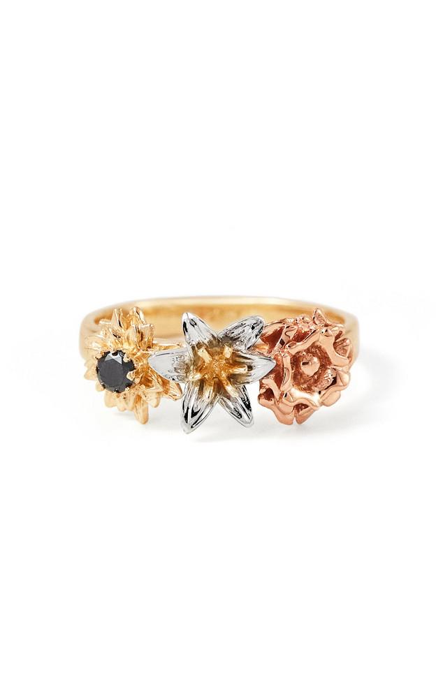 Bernard James Posy Flora 14K Gold Diamond Ring in multi