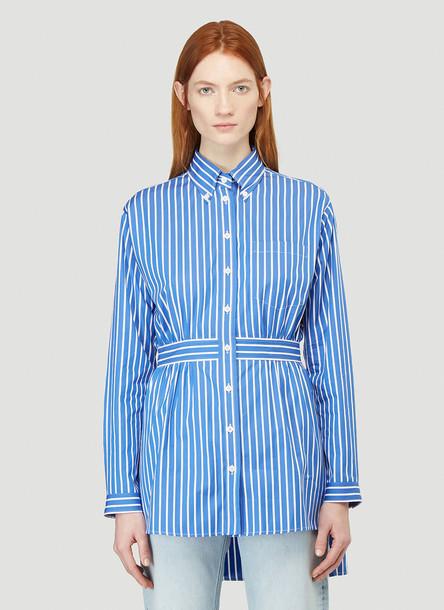 Prada Peplum Striped Shirt in Blue size IT - 42