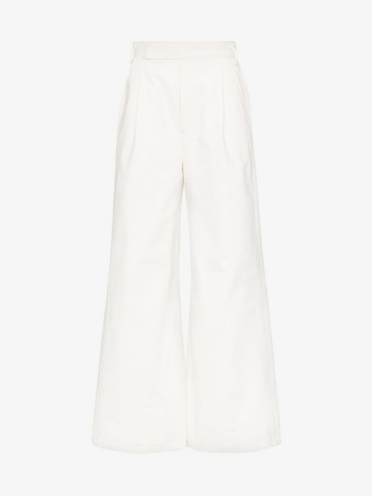 GOLDSIGN high waist palazzo cotton trousers in white