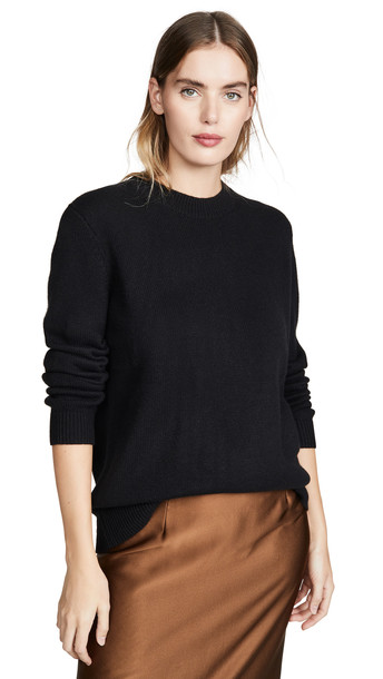 Theory Solid Crew Cashmere Pullover in black