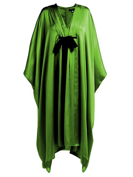 Andrew Gn - V Neck Tie Waist Silk Gown - Womens - Green