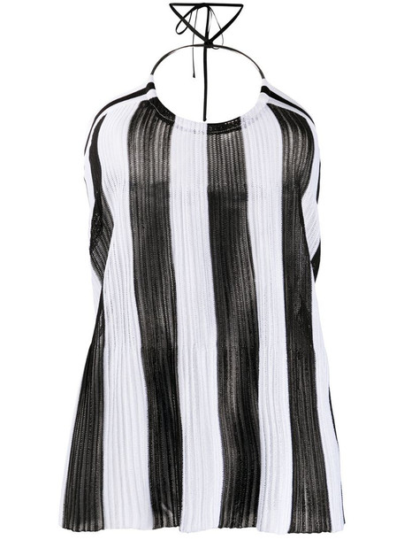 Balmain knitted striped halter neck top in black