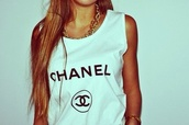 tank top,shirt,chanel,t-shirt,yolo,hipster,mainstream,wanted,chanel t-shirt,swag,muscle tee,white tank top,top,white,long hair,no sleeved,no sleeves,white t-shirt,white top,chanel brand,necklace,gold necklace,girl,style,blouse