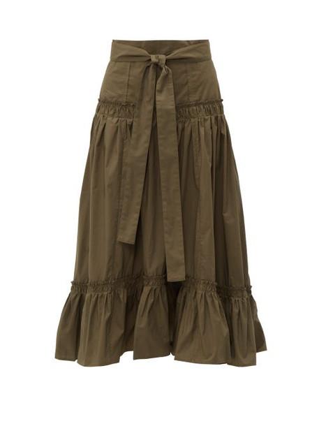 Proenza Schouler - Tiered Cotton Poplin Midi Skirt - Womens - Dark Green