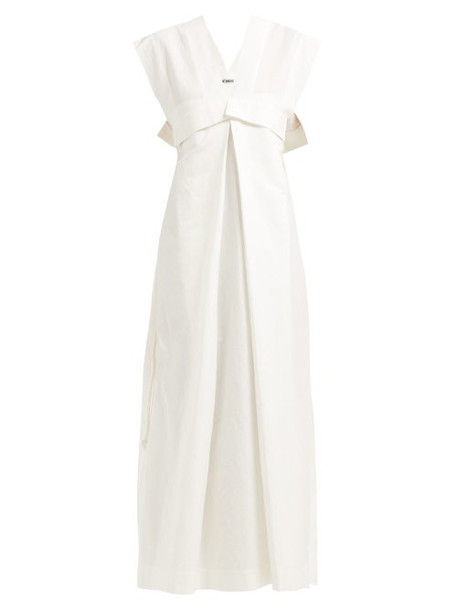 Issey Miyake - Color Stroke Cotton Blend Maxi Dress - Womens - White