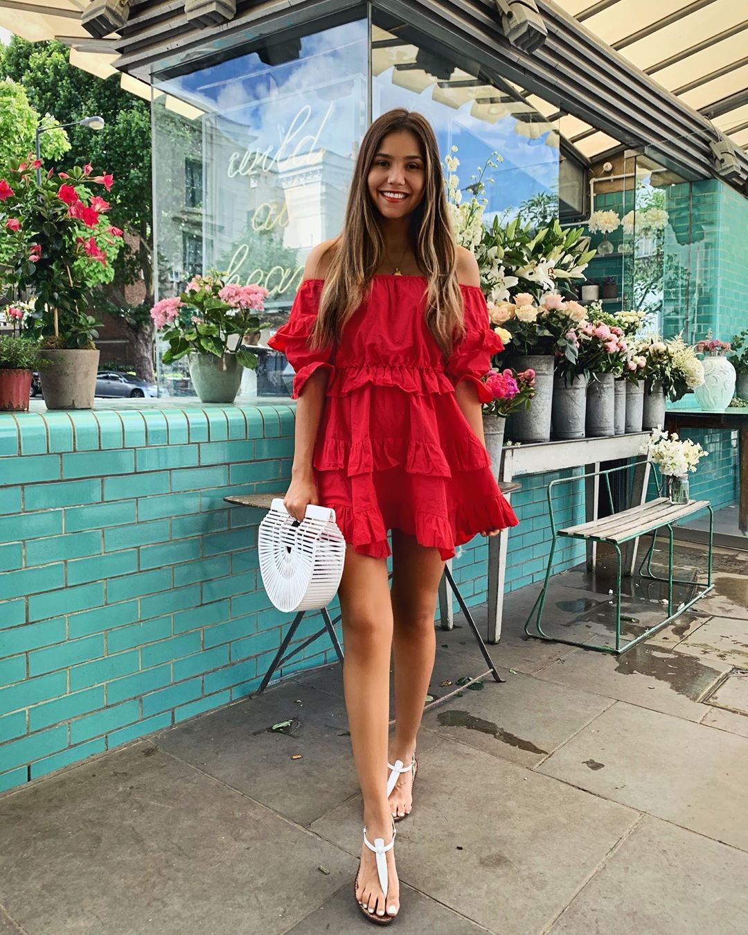 dress red dress mini dress off the shoulder top white sandals white bag
