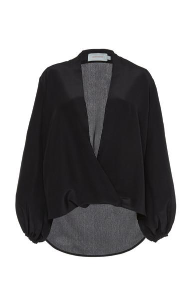 Silvia Tcherassi Cherasco Silk Wrap Blouse in black