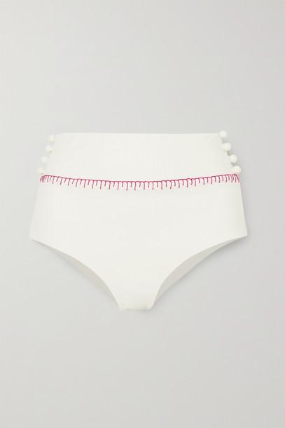 MARYSIA - Salento Embellished Embroidered Seersucker Bikini Briefs - White