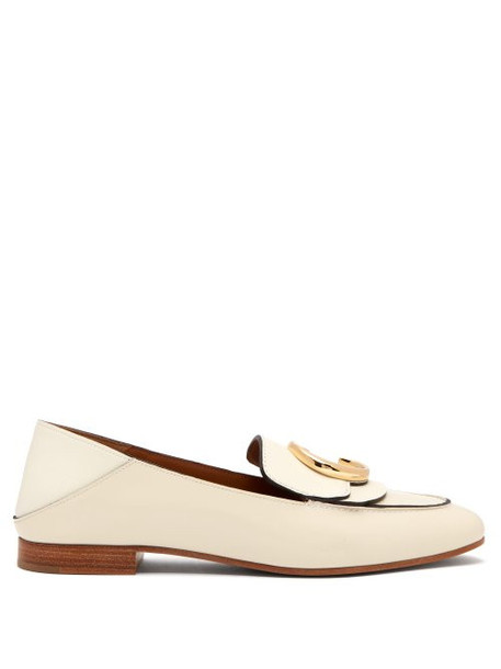 Chloé Chloé - Collapsible Heel Leather Loafers - Womens - White